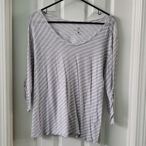 Gray and White Top